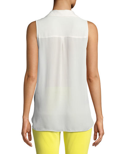 Freja Wrap-Front Sleeveless Silk Blouse