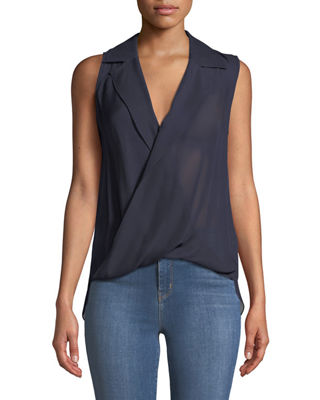 L'Agence Freja Wrap-Front Sleeveless Silk Blouse and Matching