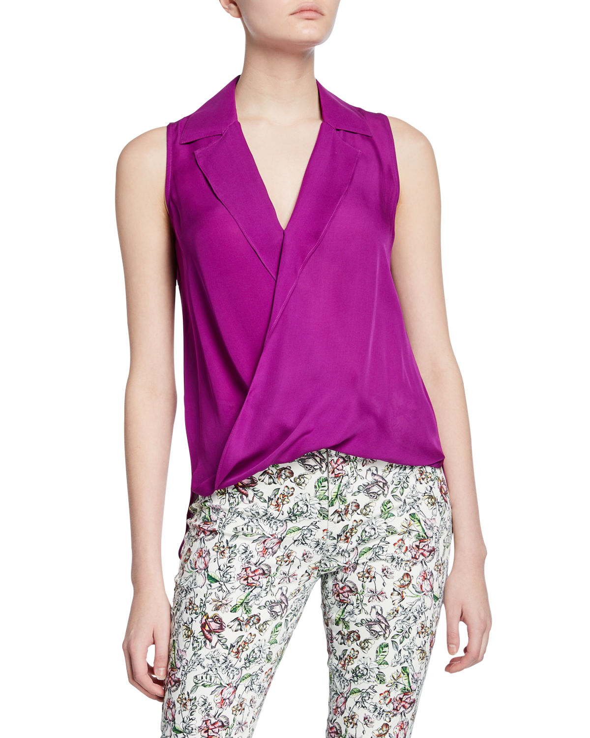 912ebea0a391d8 L'Agence Freja Wrap-Front Sleeveless Silk Blouse | Neiman Marcus