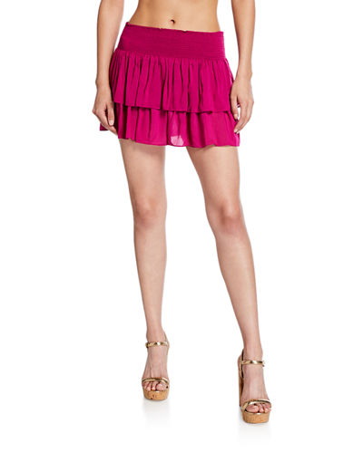 Ramy Brook Sibyl Smocked Two-Tier Mini Skirt