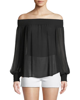 Ramy Brook Augustine Off-the-Shoulder Split-Sleeve Coverup