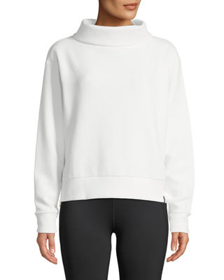 VARLEY Simon Ribbed Side-Zip Sweater in White