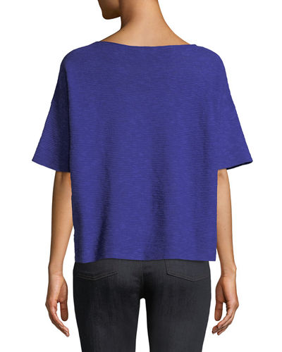 Cotton-Linen Slub Half-Sleeve Box Top, Petite