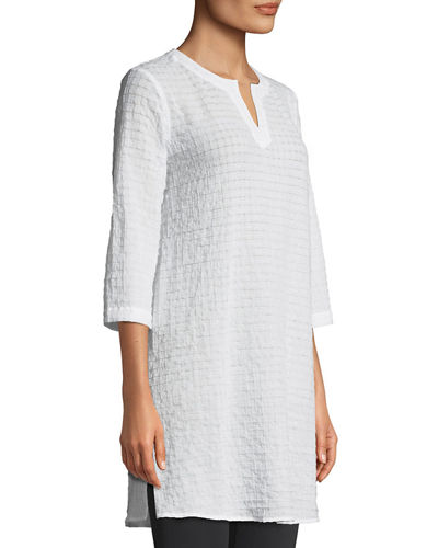 Grid-Texture 3/4-Sleeve Organic Cotton Voile Tunic
