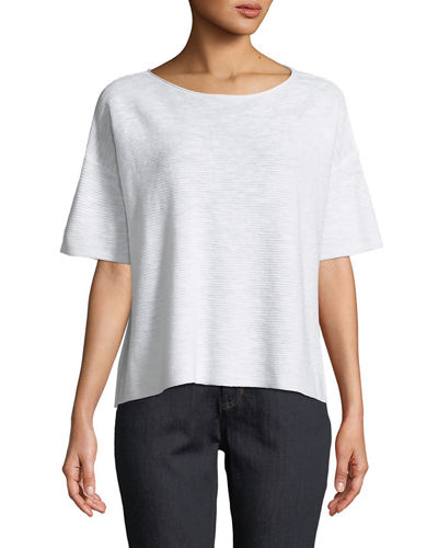 Cotton-Linen Slub Half-Sleeve Box Top