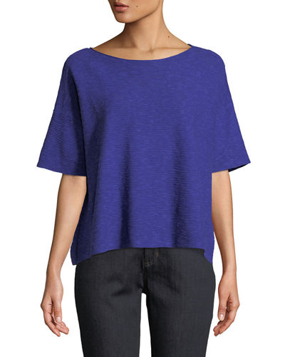 Eileen Fisher Cotton-Linen Half-Sleeve Box Top and Matching