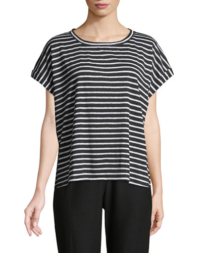 Seaside Striped Organic Linen Jersey Box Top