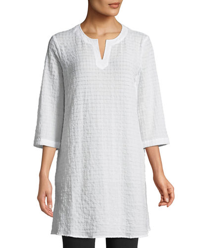 Grid-Texture 3/4-Sleeve Organic Cotton Voile Tunic, Petite