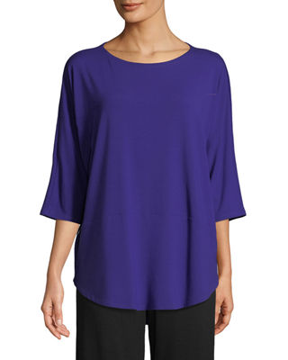 Eileen Fisher 3/4-Sleeve Bateau-Neck Jersey Top