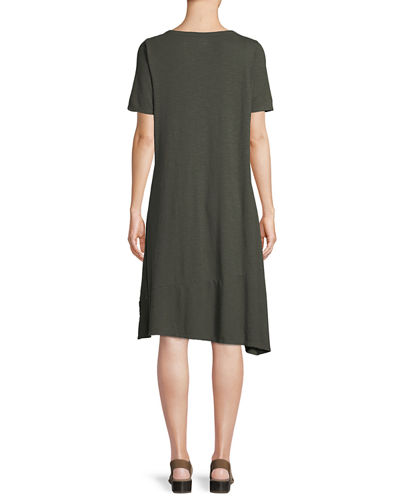 Hemp-Cotton Twist Asymmetric Shift Dress