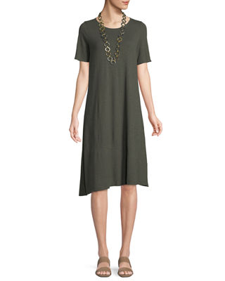 Eileen Fisher Hemp-Cotton Twist Asymmetric Shift Dress