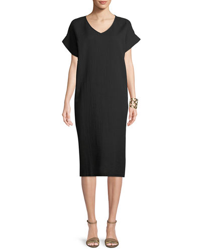 Cotton Gauze V-Neck Shift Dress