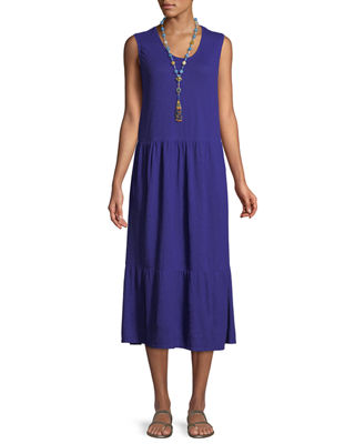 Eileen Fisher Hemp-Cotton Tiered Midi Dress, Plus Size