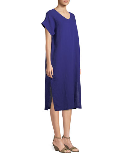 Cotton Gauze V-Neck Shift Dress, Petite