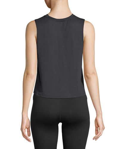 Star-Logo Crewneck Sleeveless Active Crop Tank