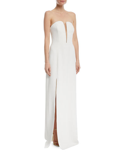 Fitted Strapless Crepe Gown w/ Mesh Insert