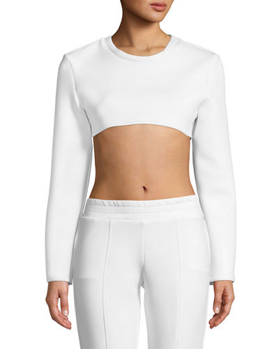 Long-Sleeve Neoprene Crewneck Crop Top