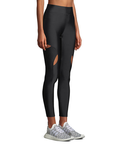 High-Waist Cutout-Knee Active Leggings