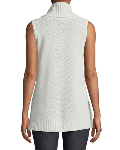 Diagonal Ribbed Cashmere Turtleneck Tunic