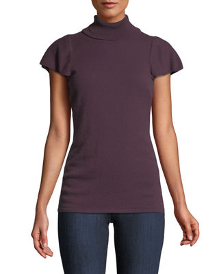 Neiman Marcus Cashmere Collection Cashmere Short Ruffle-Sleeve