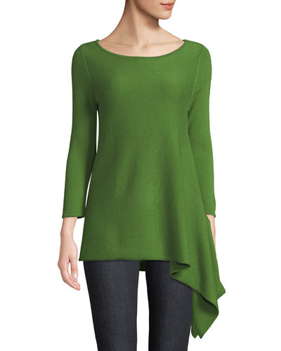 Cashmere Asymmetric-Hem Sweater