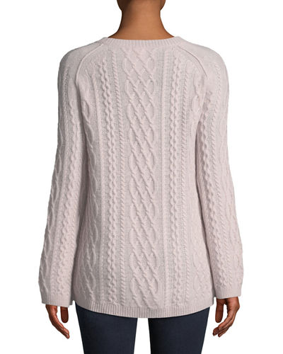 Featherweight Cable-Knit Cashmere Pullover Sweater