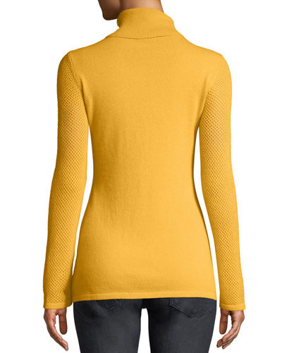 Mesh-Sleeve Cashmere Turtleneck Sweater