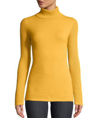 Neiman Marcus Cashmere Collection Mesh-Sleeve Cashmere Turtleneck