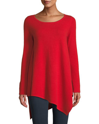 Neiman Marcus Cashmere Collection Cashmere Asymmetric-Hem Sweater