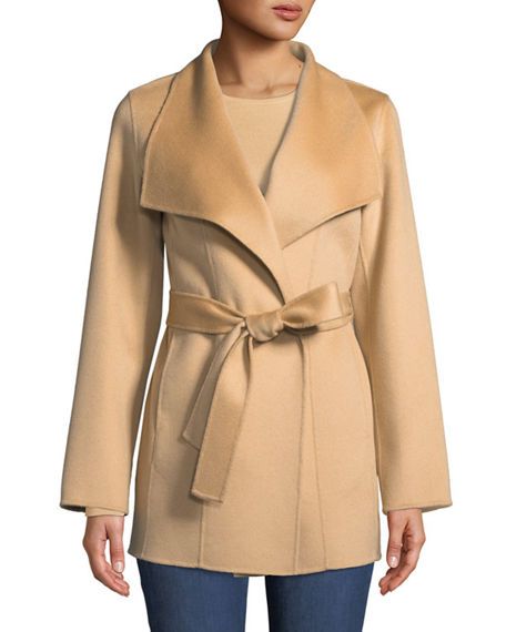 Double-Faced Cashmere Mid-Length Wrap Coat | Neiman Marcus