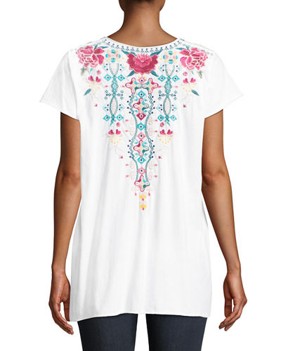 Peta Draped Knit Embroidered Short-Sleeve Top, Plus Size