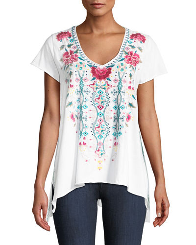 Johnny Was Peta Draped Knit Embroidered Short-Sleeve Top,