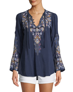 0b11863d7c5f Johnny Was Plus Size Tanya Embroidered Georgette Blouse