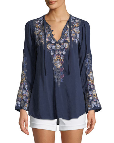 Tanya Embroidered Georgette Blouse, Plus Size