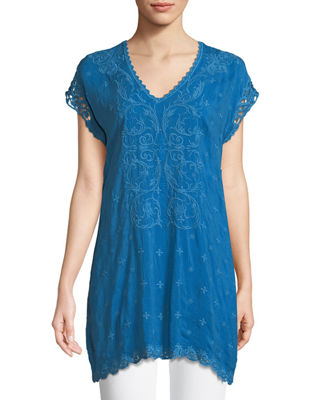 Johnny Was Dani Short-Sleeve Georgette V-Neck Top