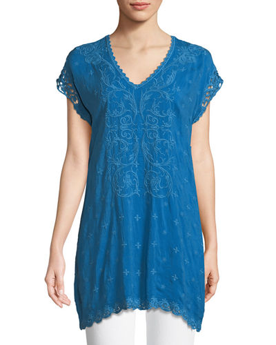 Dani Short-Sleeve Georgette V-Neck Top