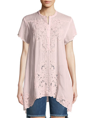 Johnny Was Dina Short-Sleeve Georgette Tunic