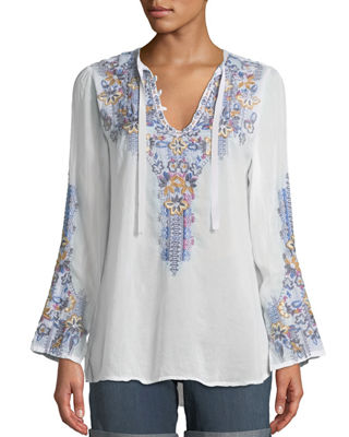Johnny Was Tanya Embroidered Georgette Blouse