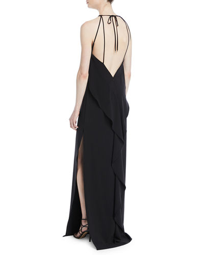 High-Neck Gown w/ Draped Ruffle Back