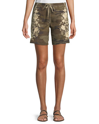 BRIAR EMBROIDERED LINEN SHORTS
