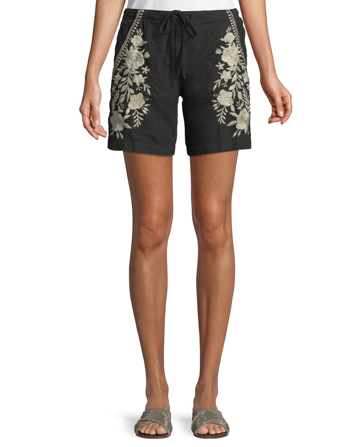 Briar Embroidered Linen Shorts, Plus Size