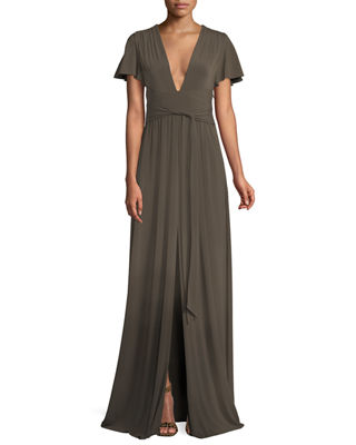Halston Heritage Jersey Flutter-Sleeve Wrap Gown