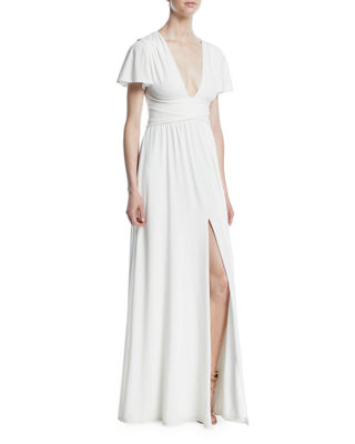 Jersey Flutter-Sleeve Wrap Gown in Chalk