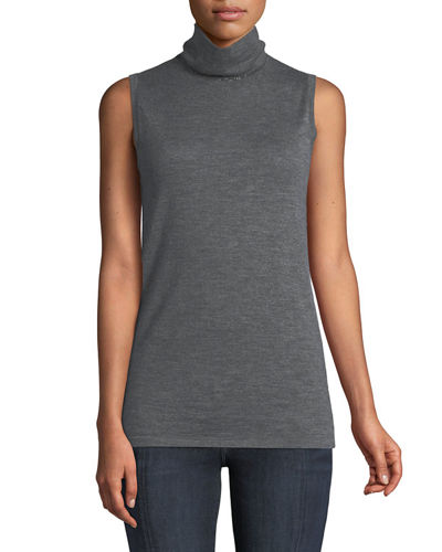 Sleeveless Mock-Neck Cashmere Sweater w/ Chain Trim
