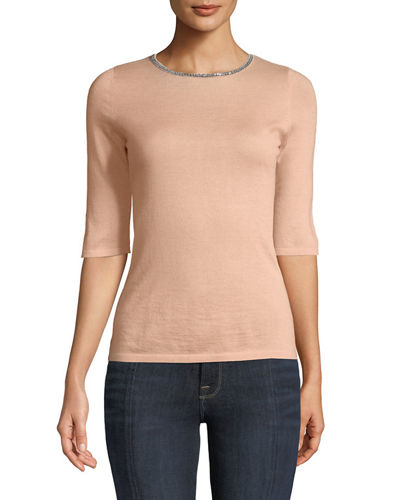 Superfine Cashmere Chain-Trim Half-Sleeve Sweater