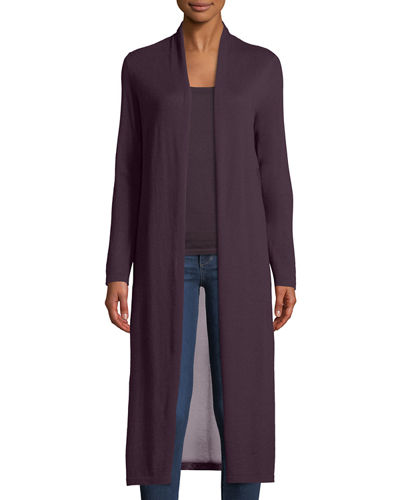 Cashmere Viscose-Back Duster Cardigan