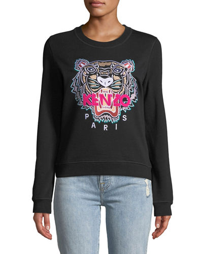 Tiger Embroidered Crewneck Sweatshirt