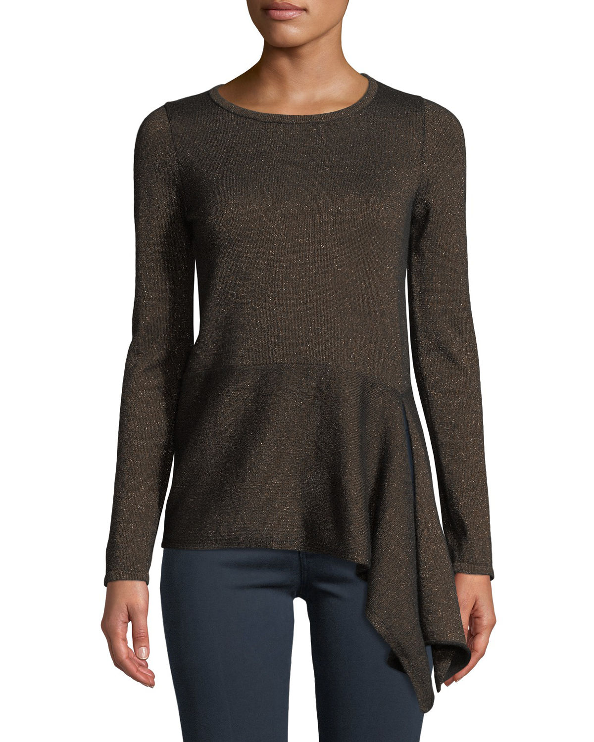 Cashmere Metallic Asymmetric Peplum Sweater
