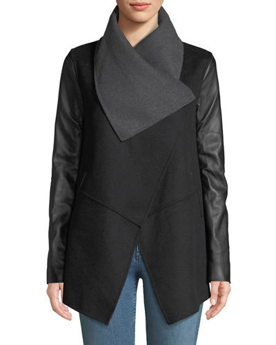 Vane Wool Coat w/ Leather Sleeves