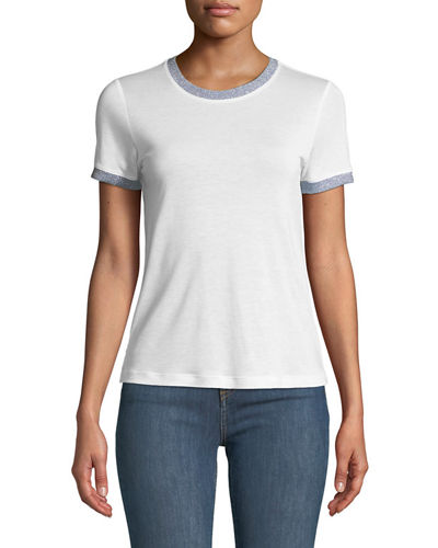 Rag & Bone Brighton Metallic-Trim Ringer Tee